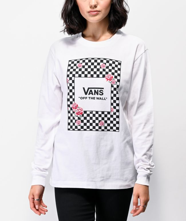 Vans Boxed Roses White Long Sleeve T-Shirt