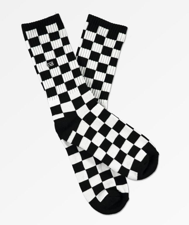 Vans Boys Black & White Checkerboard Crew Socks