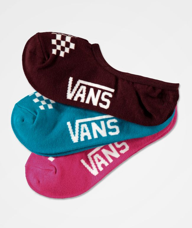 Vans Canoodle Pink, Turquoise & Port Royale 3 Pack No Show Socks