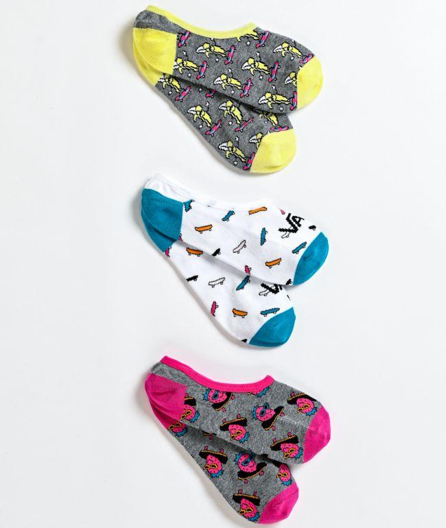Vans Canoodle Skate Fruit paquete de 3 calcetines invisibles