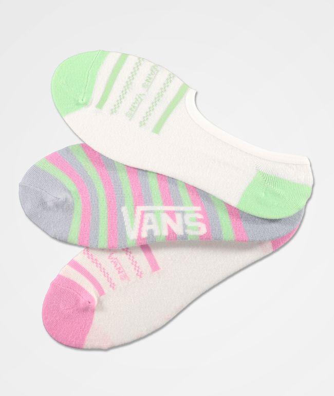 Vans Canoodle Stripe Up paquete de 3 calcetines invisibles
