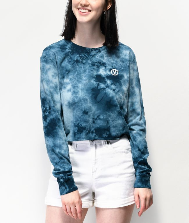 Vans Circle V Blue Long Sleeve Tie Dye Crop T-Shirt