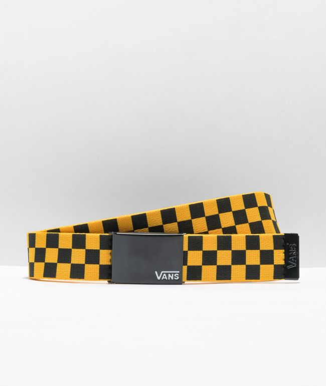 Vans Deppster Yellow & Black Checkerboard Web Belt
