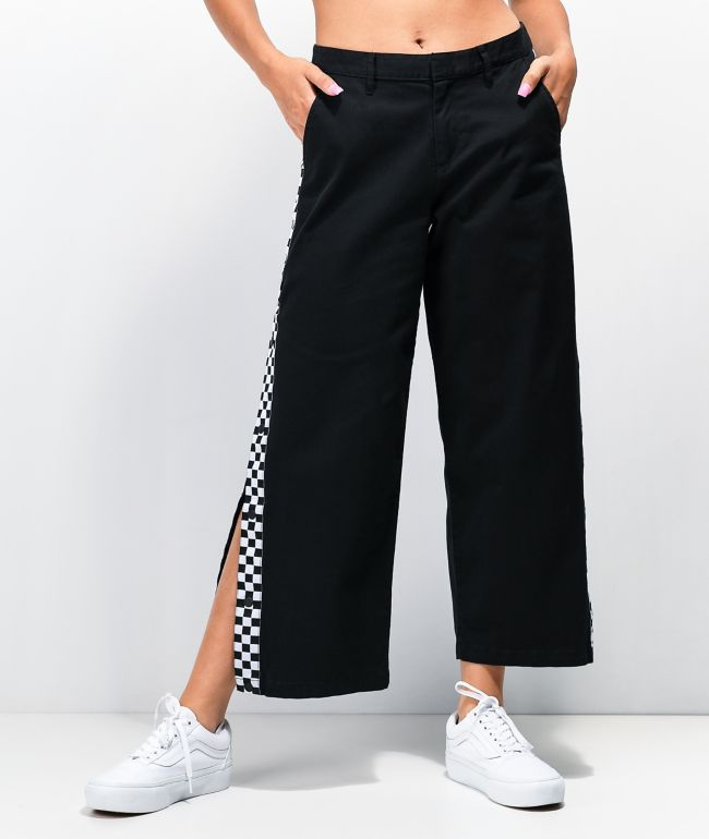 Vans Electric Blues Taped Black Wide Leg Pants