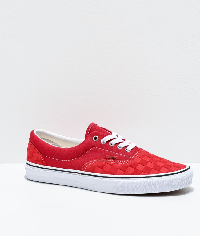 Vans Era Deboss Pomp Red Checkerboard Skate Shoes