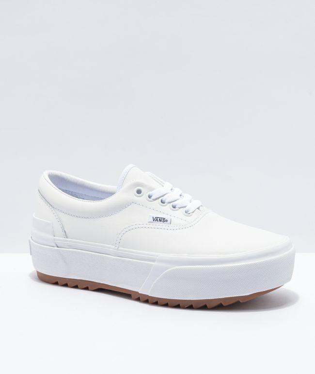 Vans Era Stacked Leather White Platform