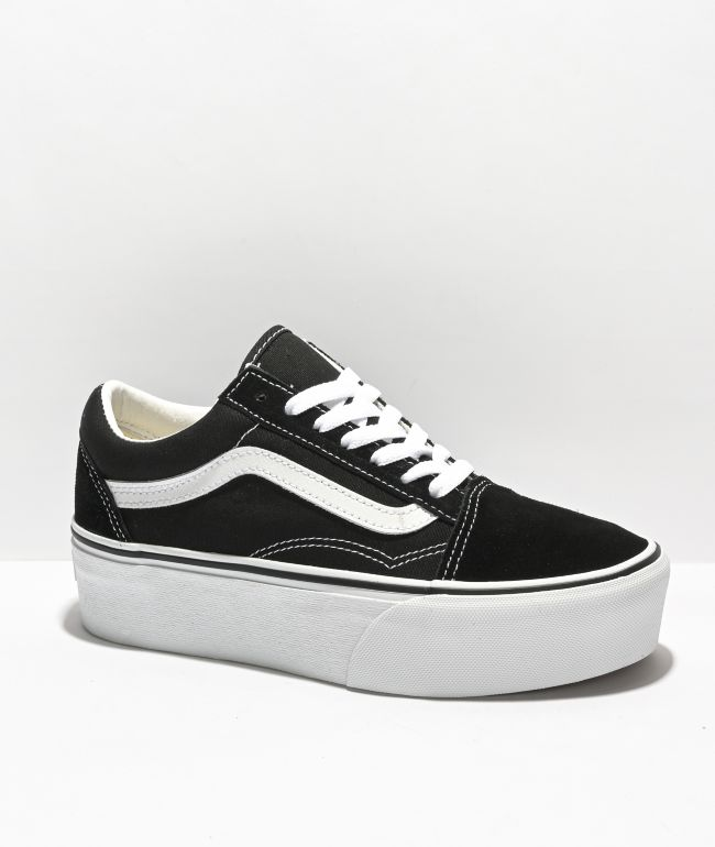 Vans Old Skool Black & White Platform Shoes