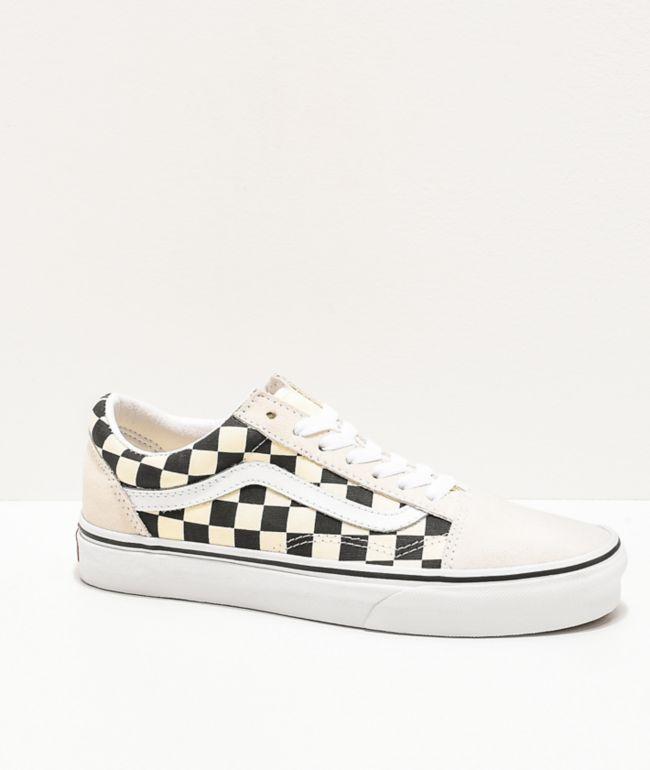 Vans Old Skool Checkerboard White & Black Skate Shoes