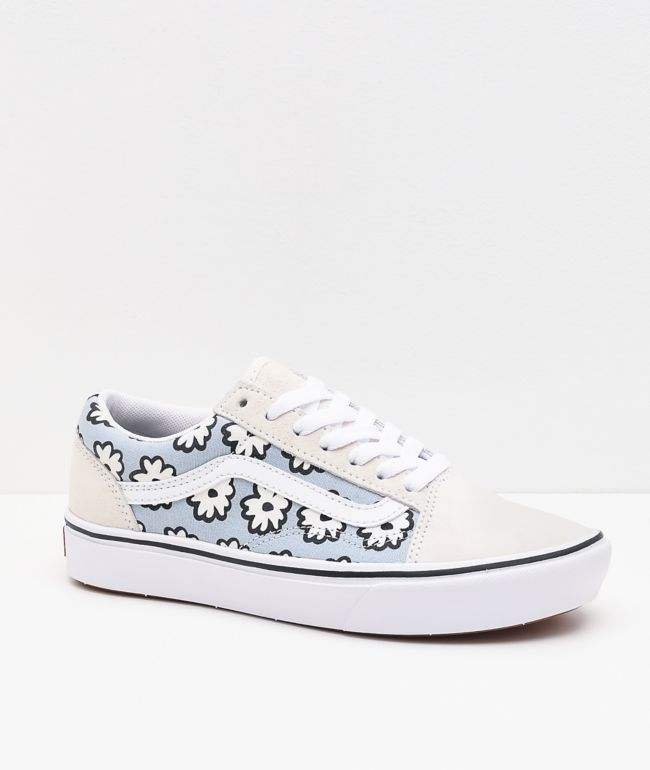 Vans Old Skool ComfyCush Mixed Cozy White & Light Blue Skate Shoes