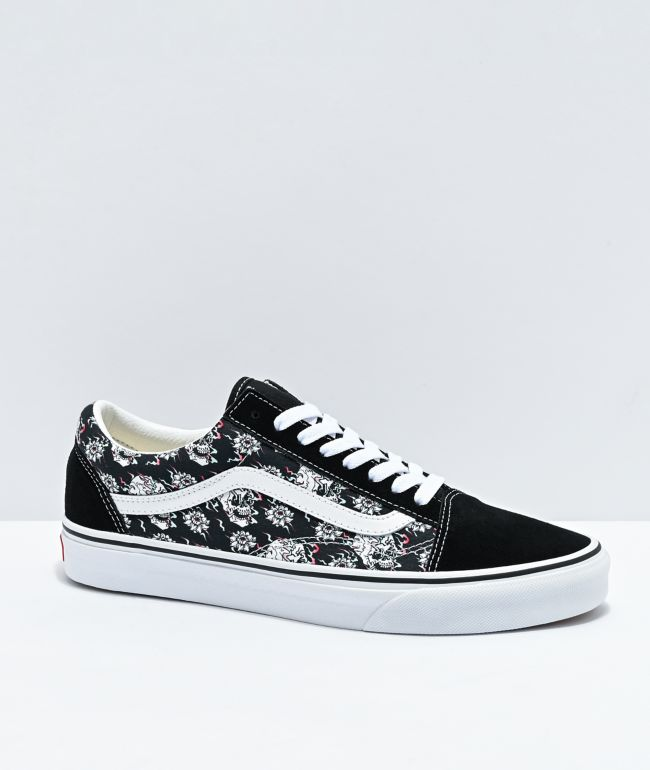Vans Old Skool Flash Skulls Black & Multi Skate Shoes