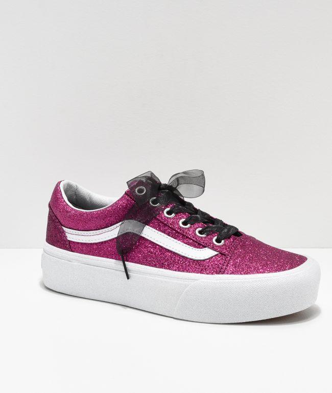 Vans Old Skool Glitter Pink Platform
