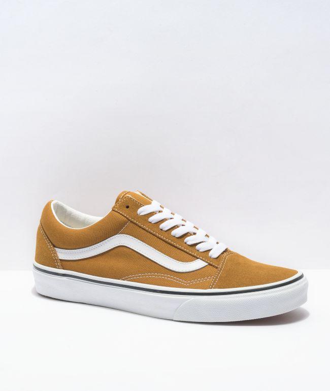 Vans Old Skool Golden Brown & White Skate Shoes