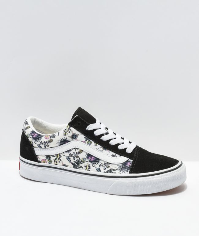 Vans Old Skool Paradise Floral Black & White Skate Shoes