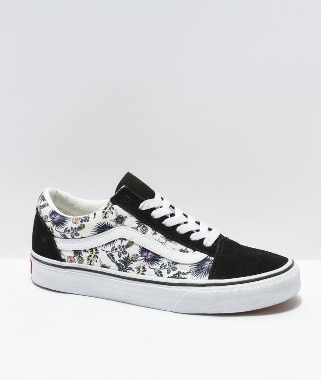 Vans Old Skool Paradise Floral zapatos de skate blanco y negros