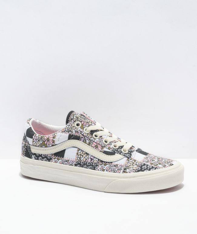 Vans Old Skool Patchwork Floral Black & White Skate Shoes