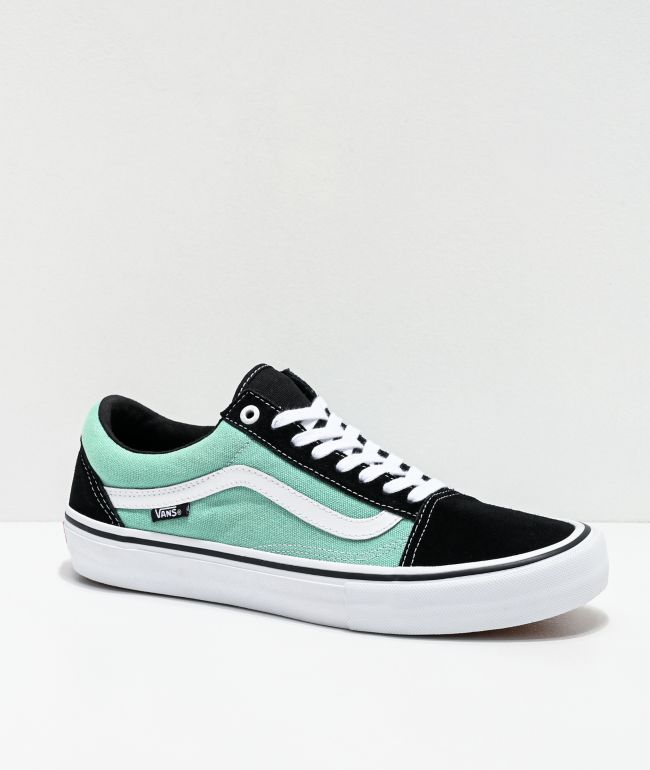 Vans Old Skool Pro Black, Jade & White Skate Shoes