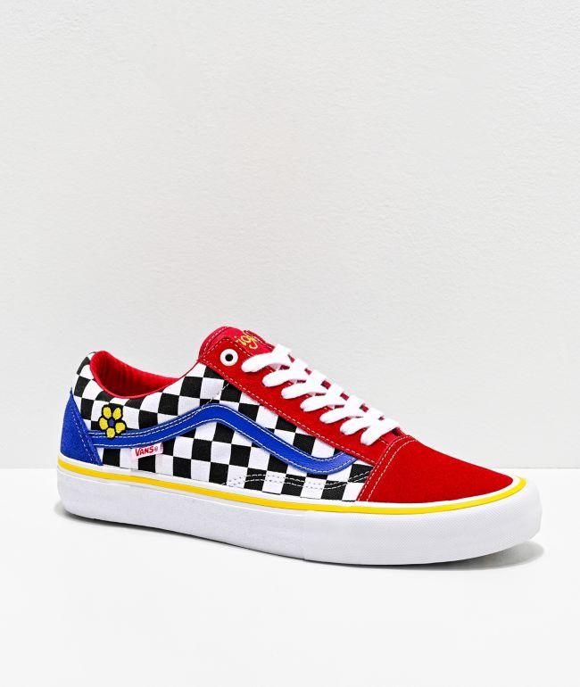 Vans Old Skool Pro Brighton Red, Blue & White Skate Shoes
