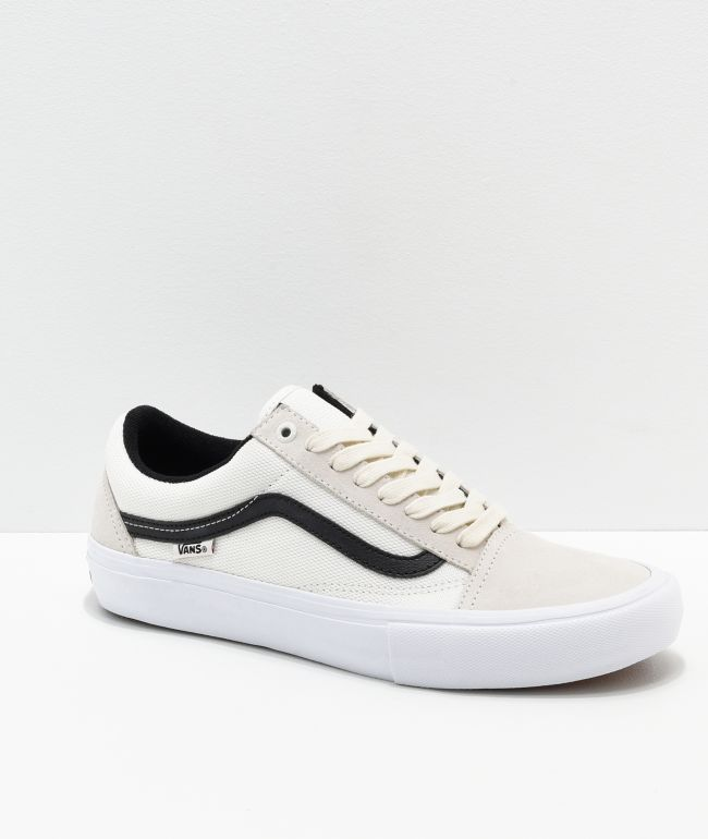 Vans Old Skool Pro Marshmallow Black Skate Shoes Zumiez