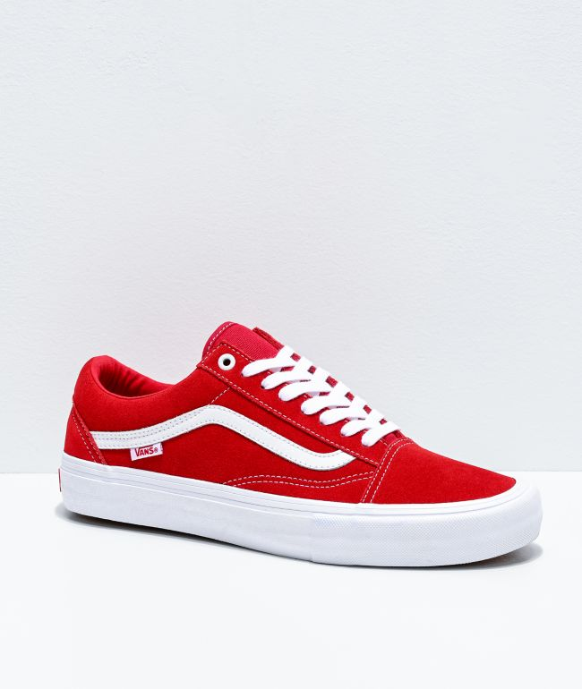 Vans Old Skool Pro Red & White Suede Skate Shoes