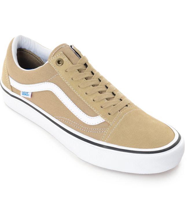 Vans Old Skool Pro zapatos de skate en caqui y blanco