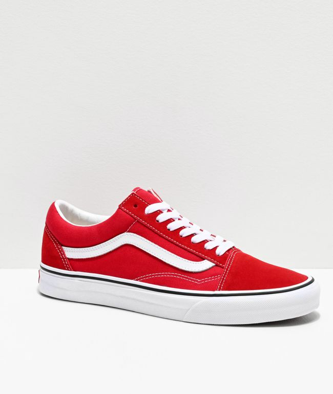 Vans Old Skool Racing zapatos de skate rojos y blancos