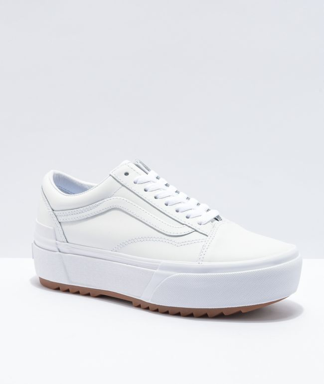 Jóslás Pint Tucat Vans Old Skool White White Leather Grassrootsoffood Com