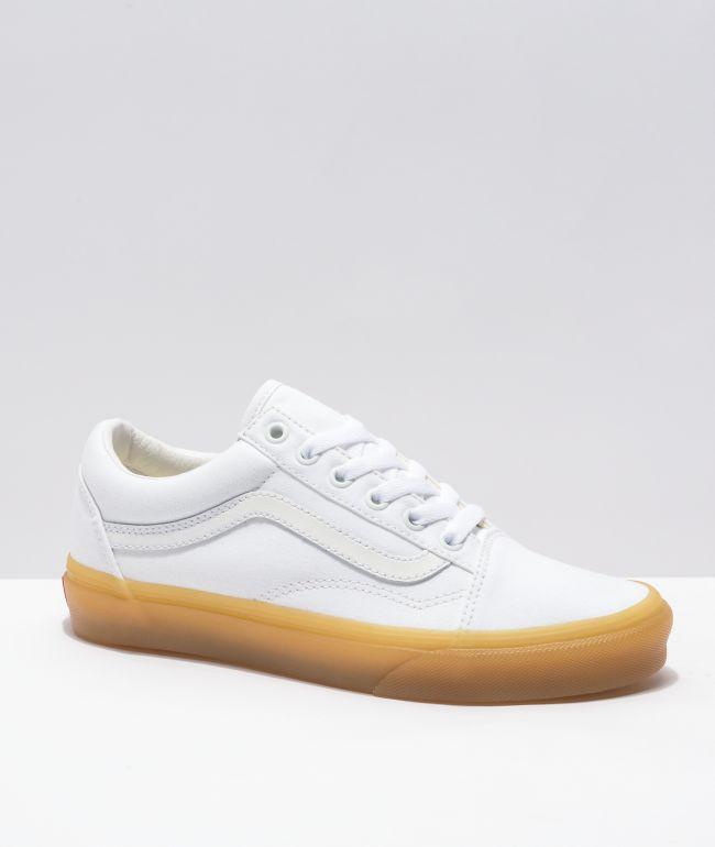Vans Old Skool White & Gum Skate Shoes