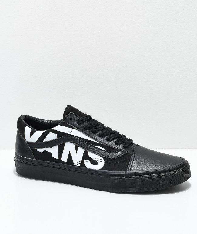 Vans Old Skool White Logo Black Skate
