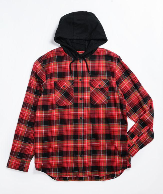 Vans Parkway Black & Chili Hooded Flannel Shirt