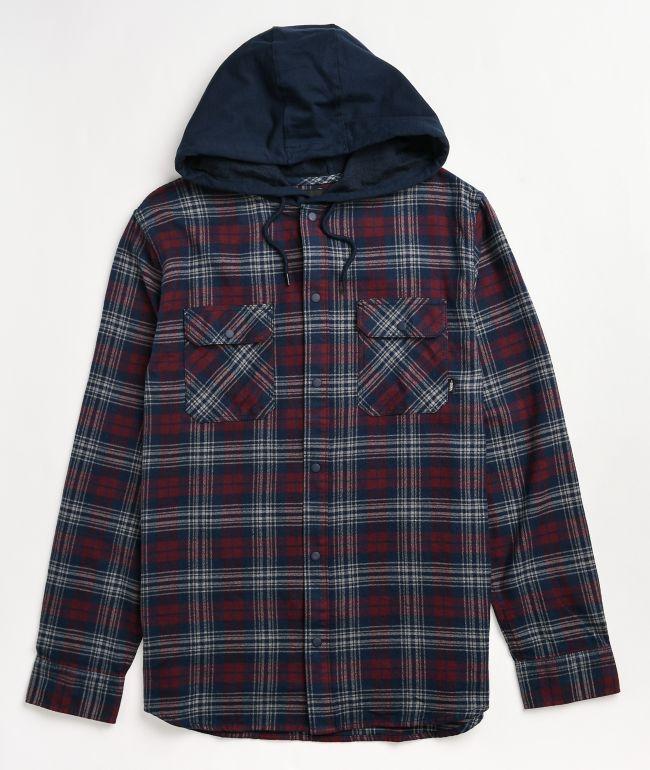 Vans Parkway II Navy Blue & Red Hooded Flannel Shirt
