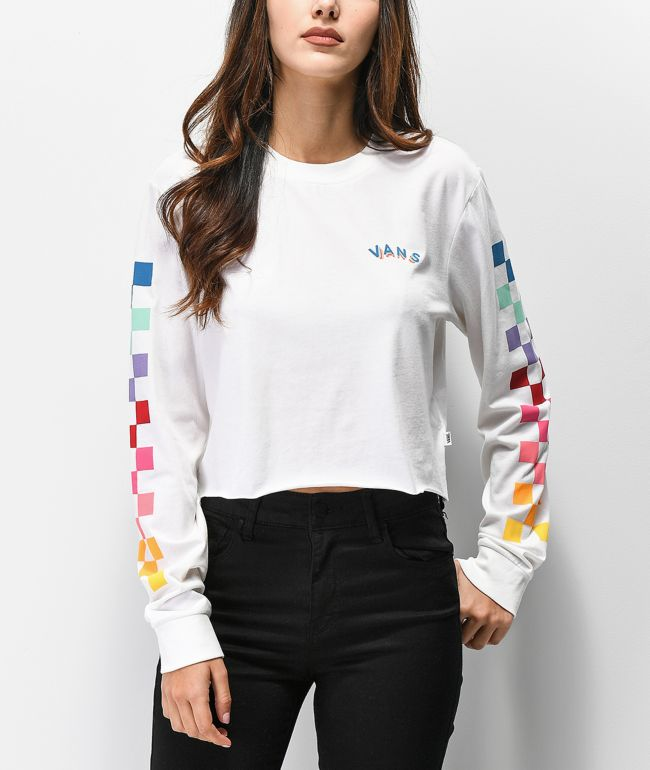 Vans Rain Checks White Crop Long Sleeve T-Shirt