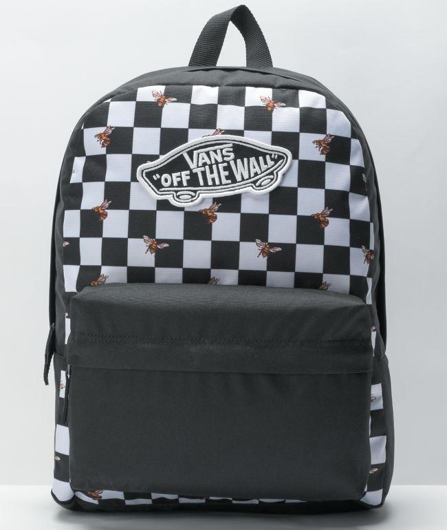 Vans Realm Bee Checker Black & White Backpack
