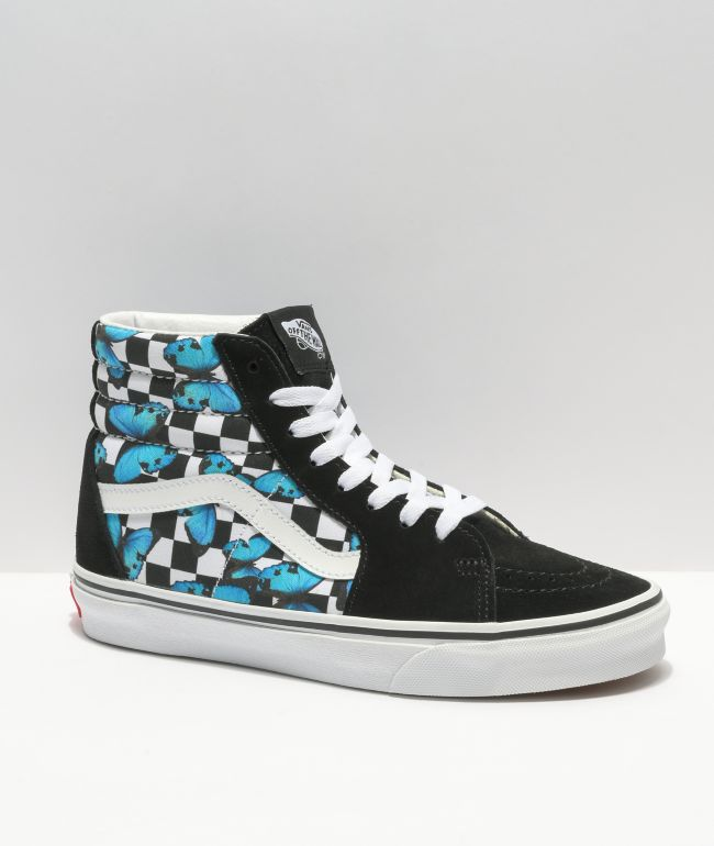 Vans Sk8-Hi Butterfly Check Black & White Skate Shoes