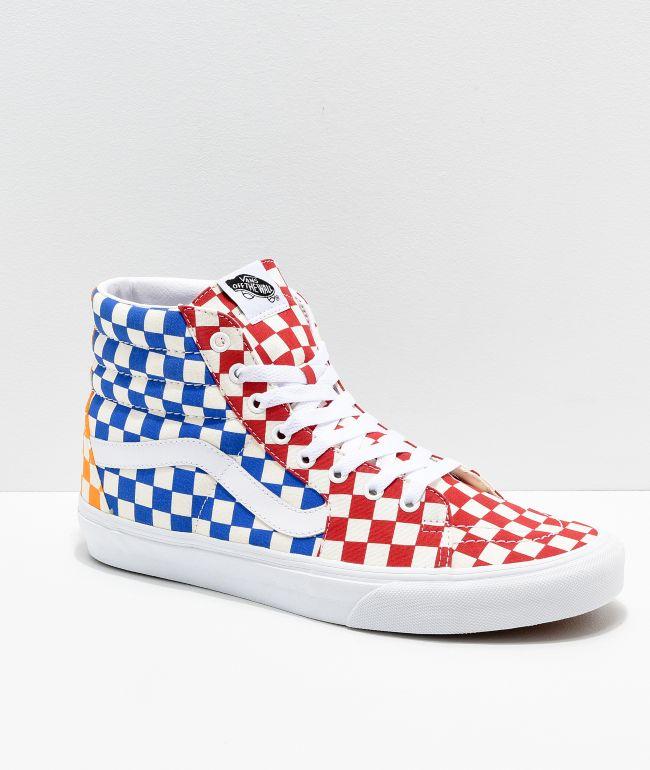 Vans Sk8-Hi Checkerboard Red, Blue