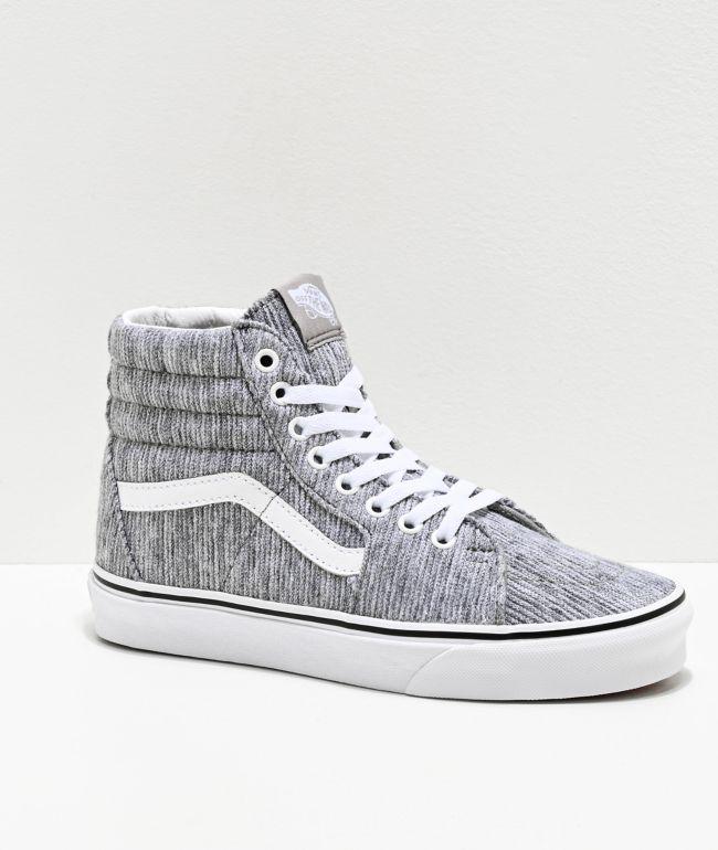 Vans Sk8-Hi Grey Ribbed Knit Skate