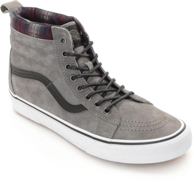 Vans Sk8-Hi MTE Pewter and Plaid Shoes
