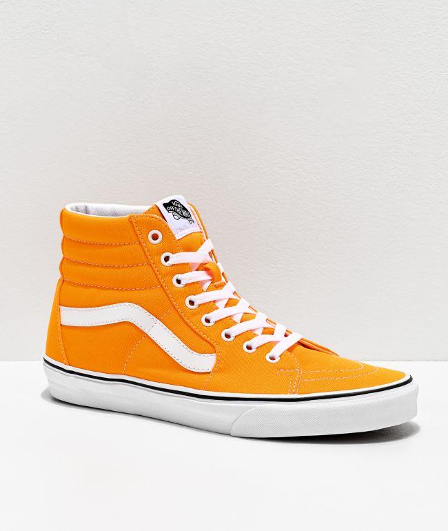 Vans Sk8-Hi Neon Blaze Orange & White Skate Shoes