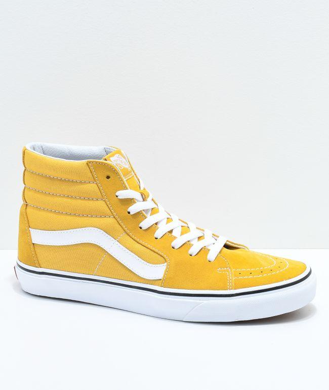 Vans Sk8-Hi Ochre \u0026 White Skate Shoes