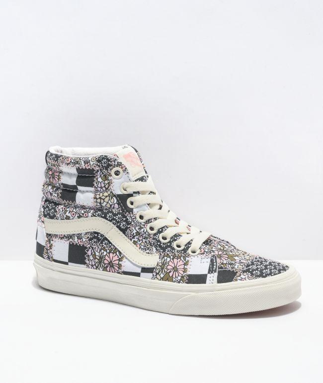 Vans Sk8-Hi Patchwork Floral Black & White Skate Shoes