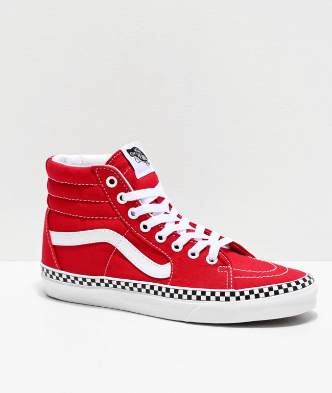 Vans Sk8-Hi Red \u0026 White Checkerboard