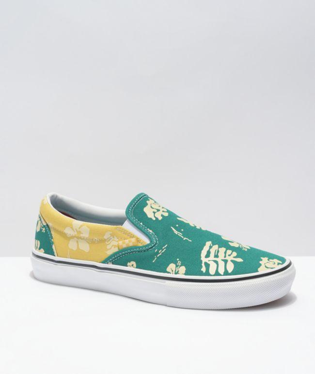 Vans Skate Slip-On Aloha Marine & Gold Skate Shoes