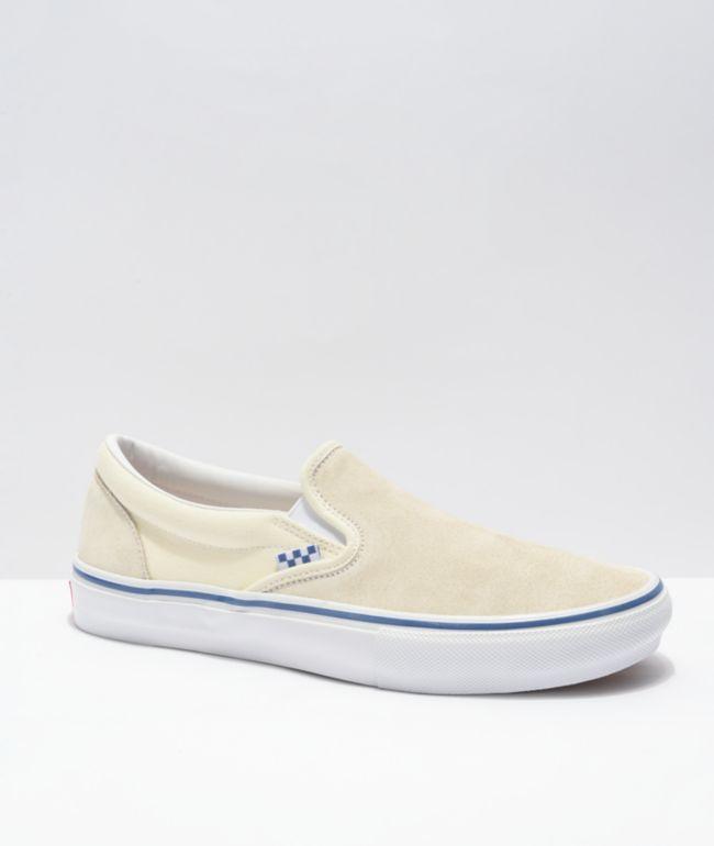 Vans Skate Slip-On Off-White & Blue Skate Shoes