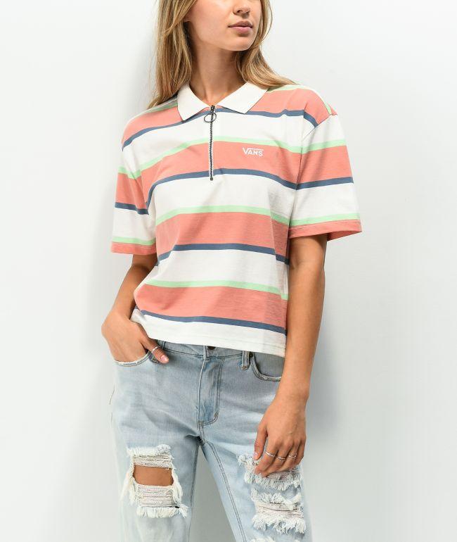 Vans Skate Stripe Pink, White & Green Crop Polo Shirt