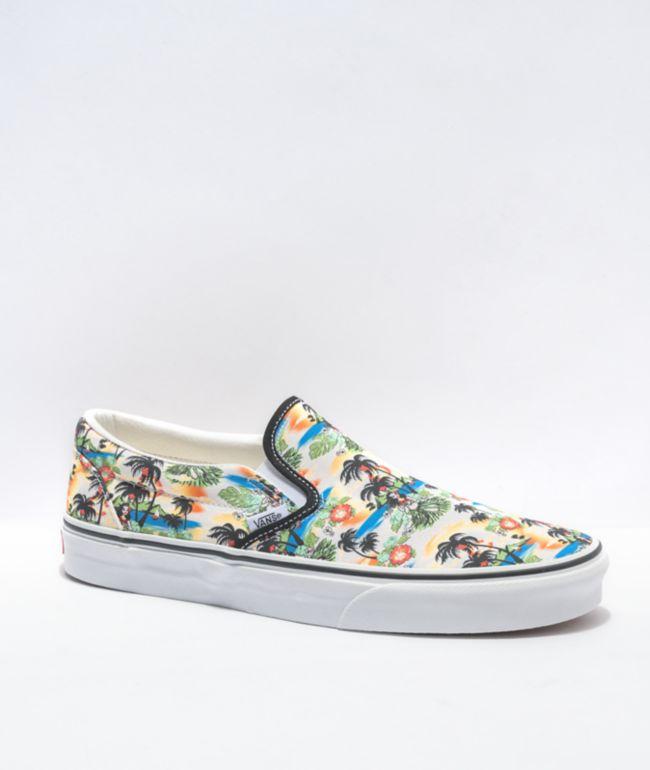 Vans Slip-On Aloha Black & White Skate Shoes