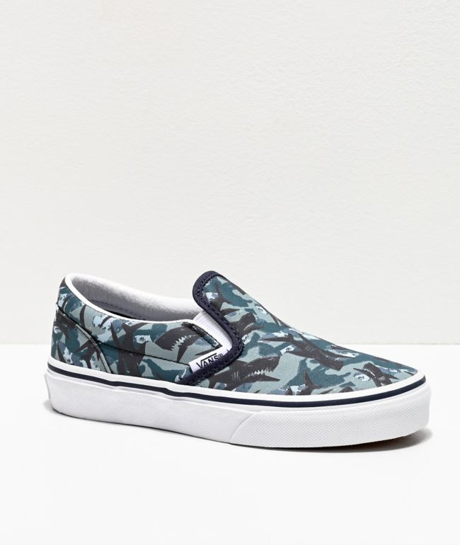Vans Slip-On Animal Camo Blue & White Skate Shoes