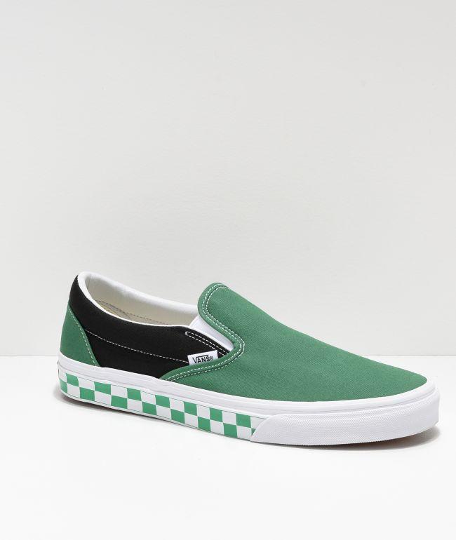 Vans Slip-On BMX Green, White & Black Checkerboard Skate Shoes