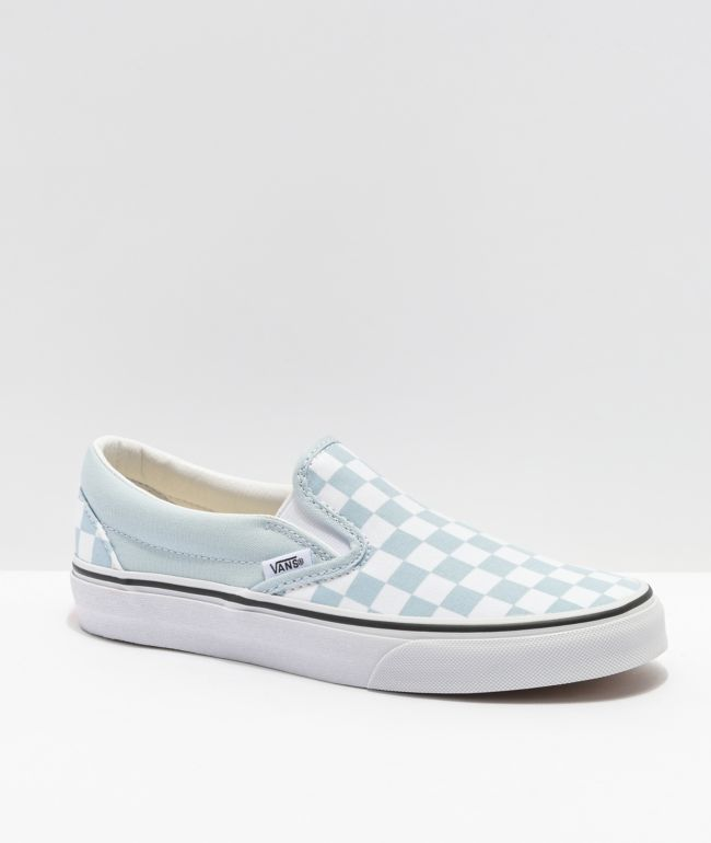 Vans Slip-On Baby Blue Checkerboard Skate Shoes