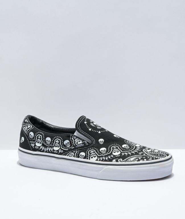 Vans Slip-On Bandana Black & White Skate Shoes