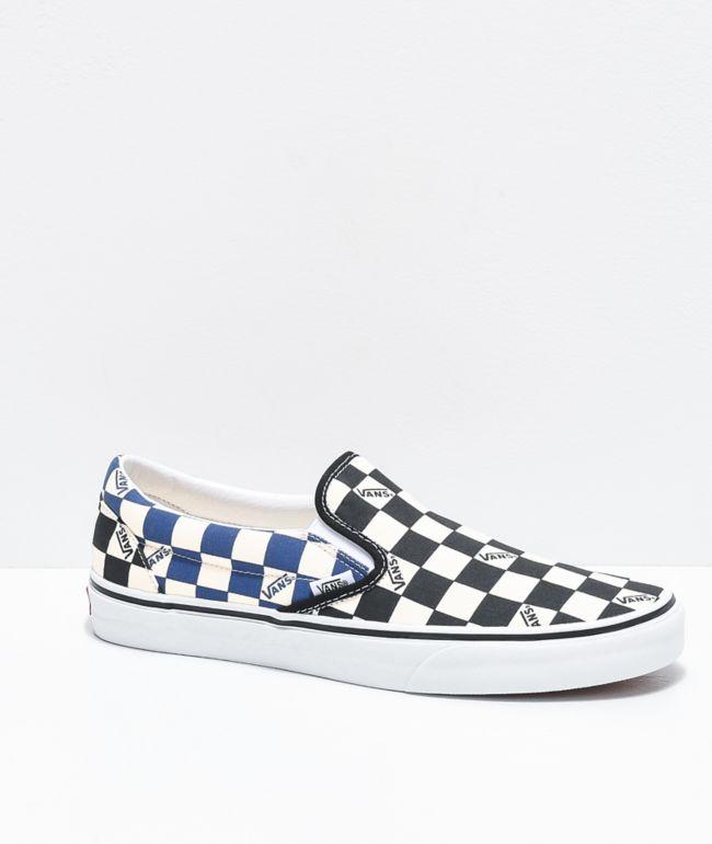 Vans Slip-On Black & Navy Big Checkerboard Skate Shoes