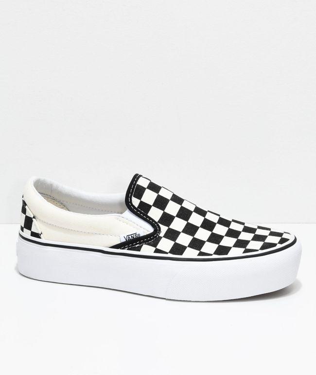 slip on vans white and black